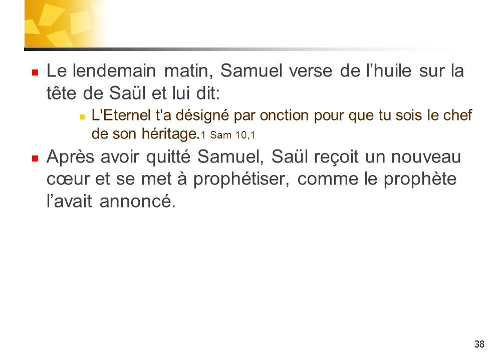 Le lendemain matin, Samuel verse de l'huile sur la tête de Saül et lui dit: