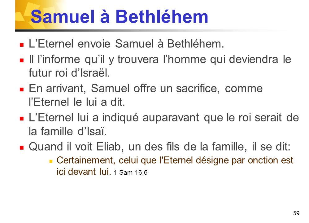 Samuel à Bethléhem L'Eternel envoie Samuel à Bethléhem.