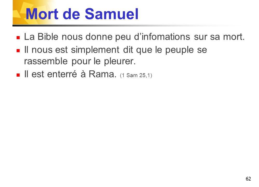 Mort de Samuel La Bible nous donne peu d'infomations sur sa mort.
