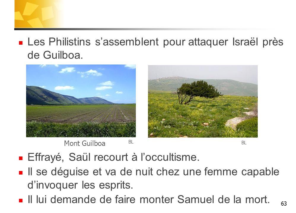 Les Philistins s'assemblent pour attaquer Israël près de Guilboa.