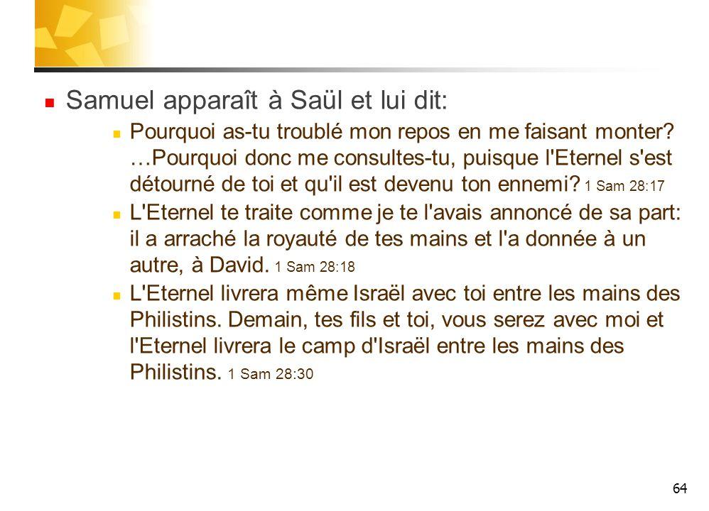 Samuel apparaît à Saül et lui dit: