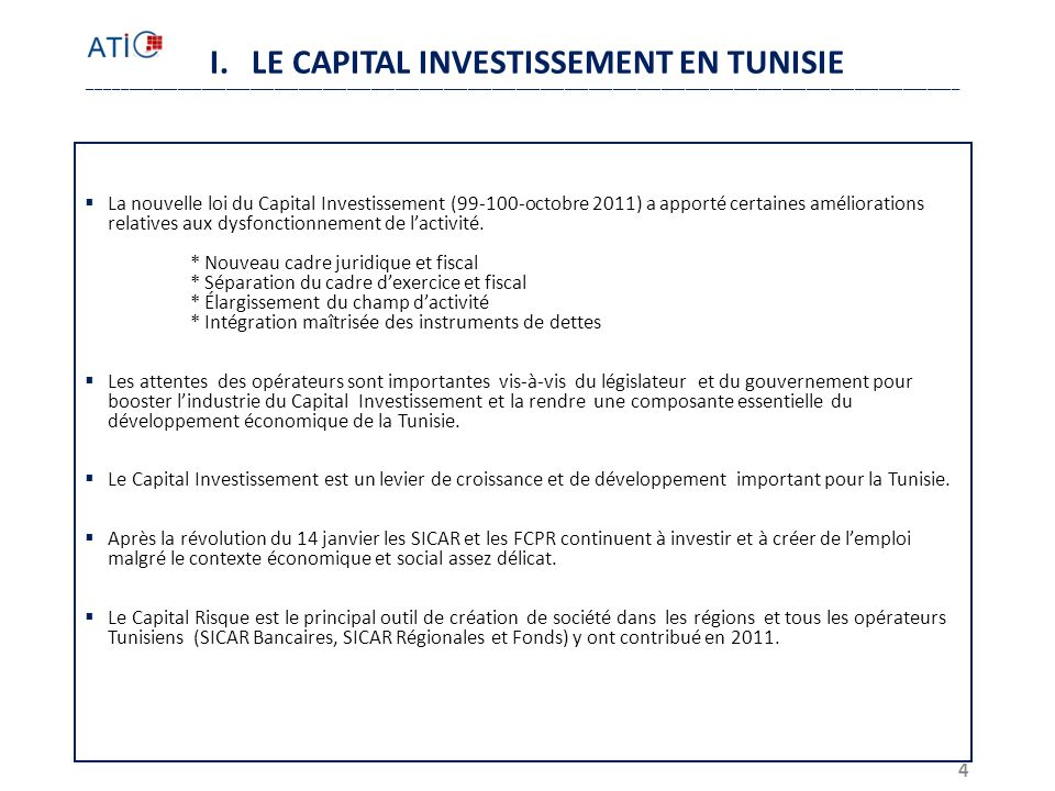 I. LE CAPITAL INVESTISSEMENT EN TUNISIE