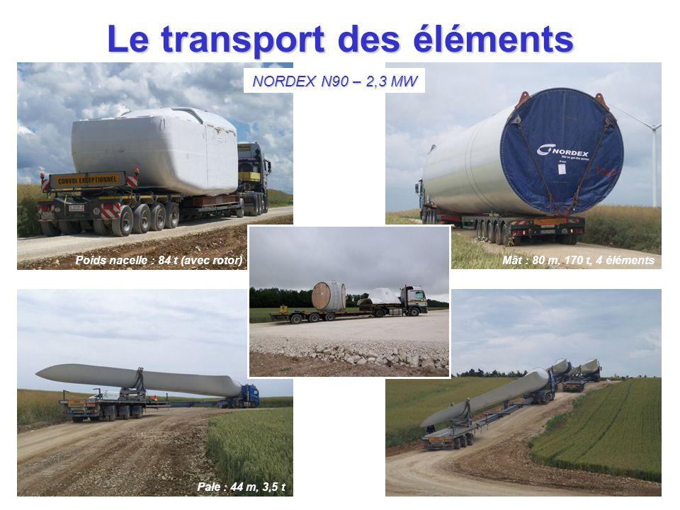 Le transport des éléments Poids nacelle : 84 t (avec rotor)