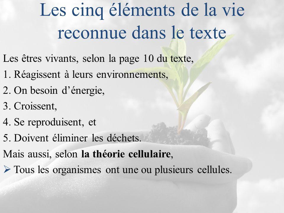 Les cinq éléments de la vie reconnue dans le texte