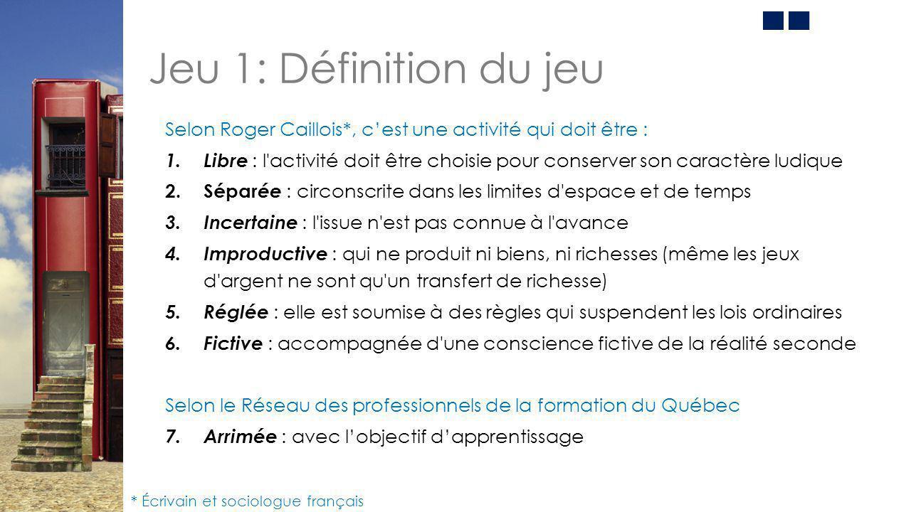 Jeu 1: Définition du jeu Selon Roger Caillois*, c'est une activité qui doit être :