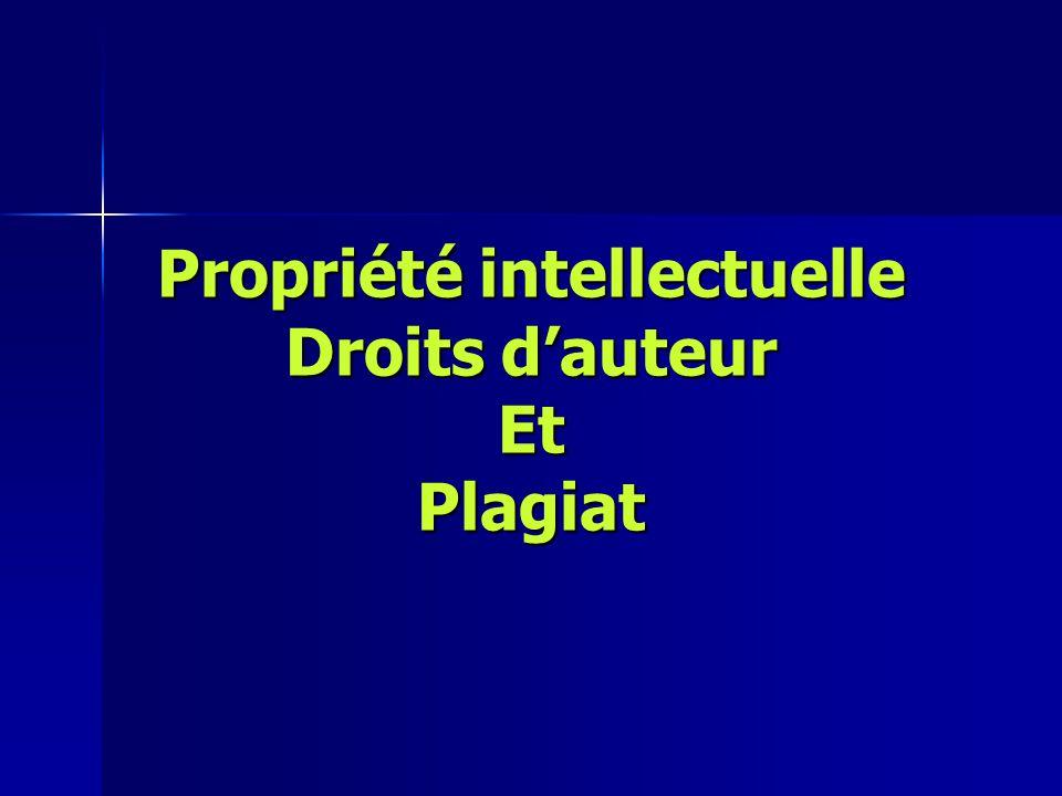 Propriété intellectuelle Droits d'auteur Et Plagiat