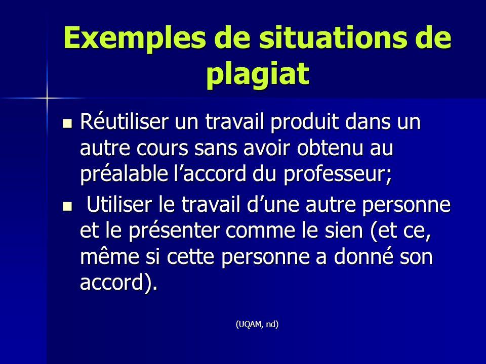 Exemples de situations de plagiat