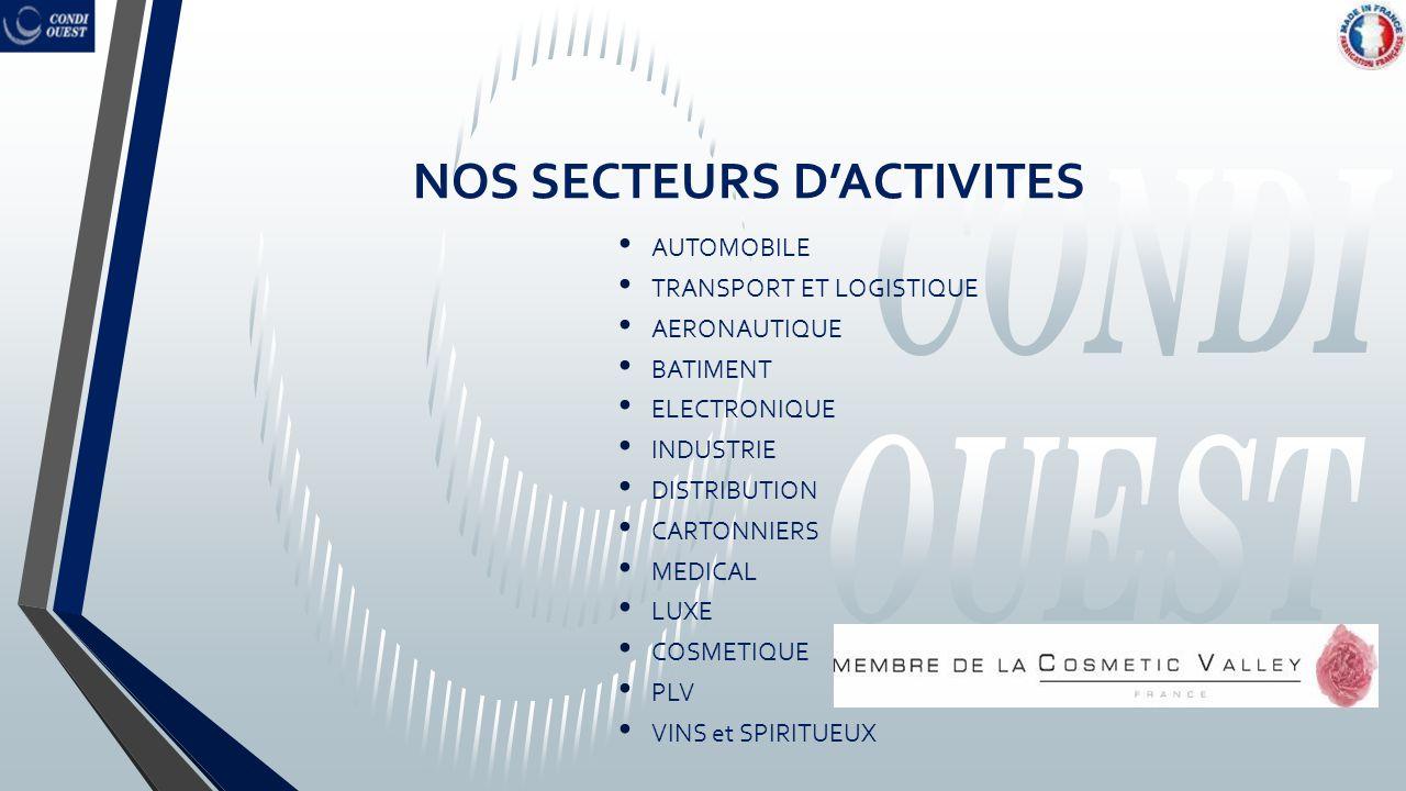 NOS SECTEURS D'ACTIVITES