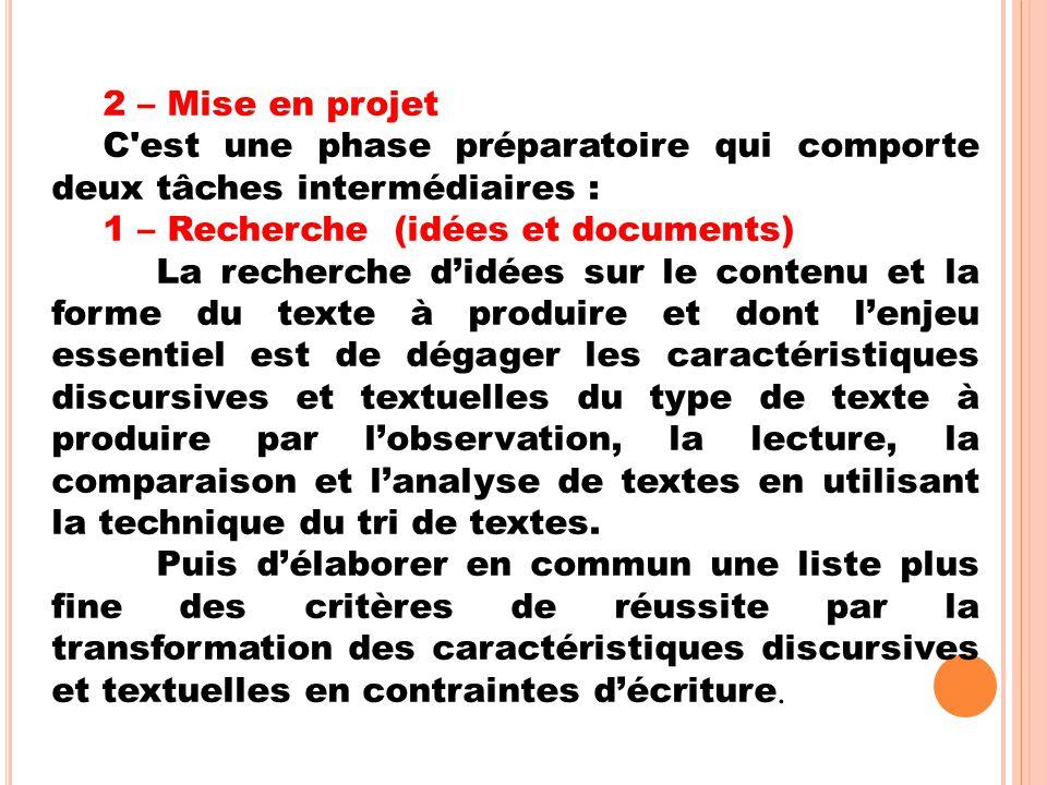 2 – Mise en projet C est une phase préparatoire qui comporte deux tâches intermédiaires : 1 – Recherche (idées et documents)