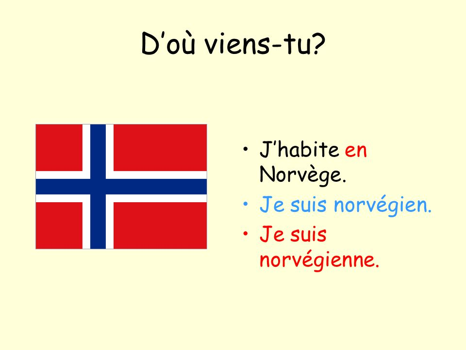 D'où viens-tu J'habite en Norvège. Je suis norvégien.
