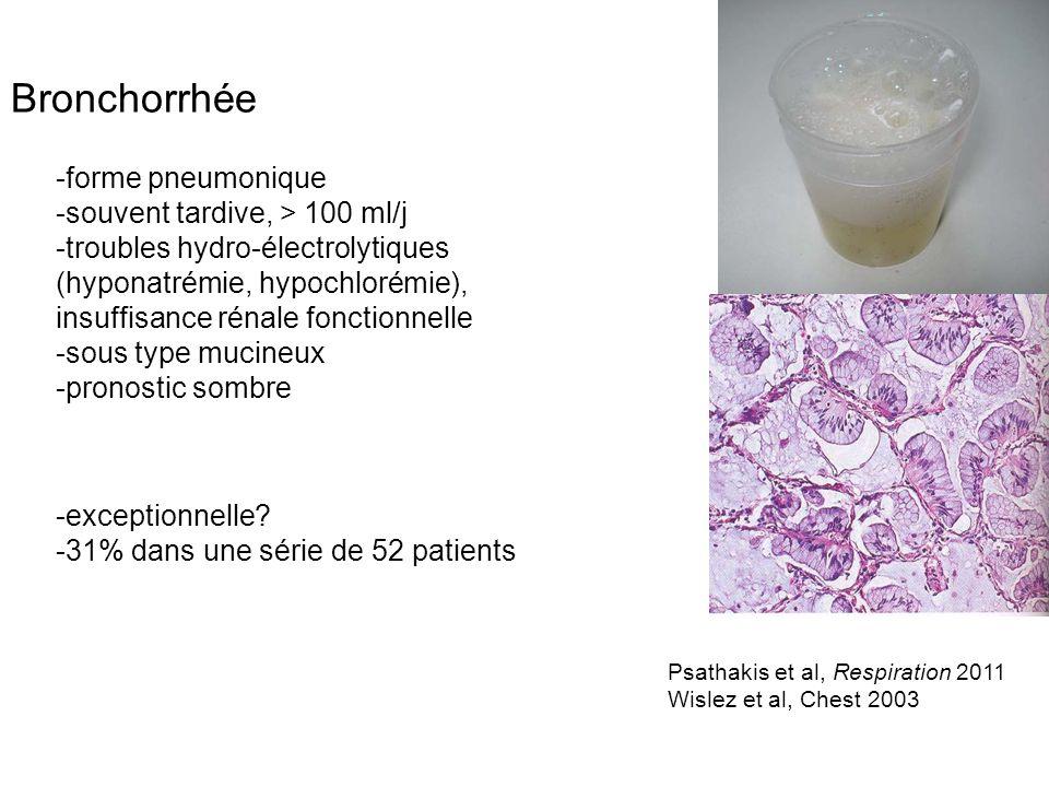 Bronchorrhée -forme pneumonique -souvent tardive, > 100 ml/j