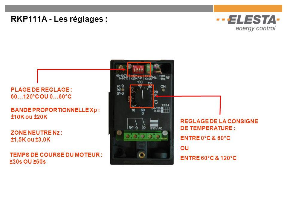 RKP111A - Les réglages : PLAGE DE REGLAGE : 60…120°C OU 0…60°C