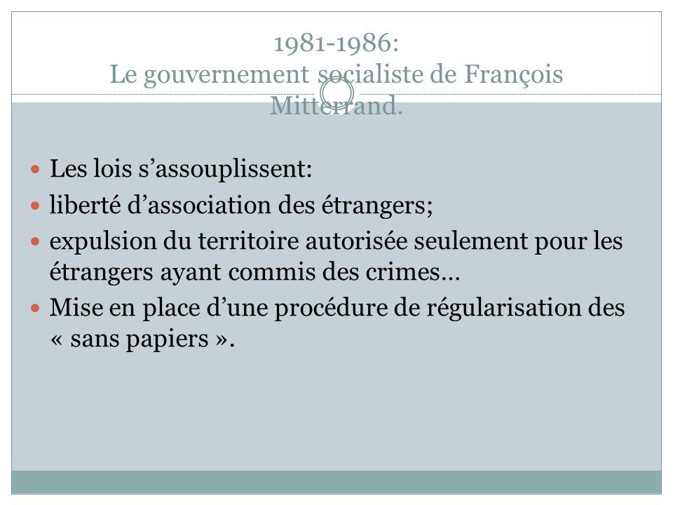 1981-1986: Le gouvernement socialiste de François Mitterrand.