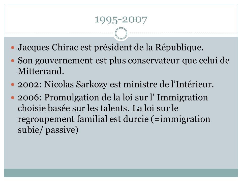 1995-2007 Jacques Chirac est président de la République.