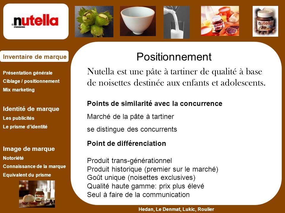 Positionnement Nutella est une pâte à tartiner de qualité à base de noisettes destinée aux enfants et adolescents.