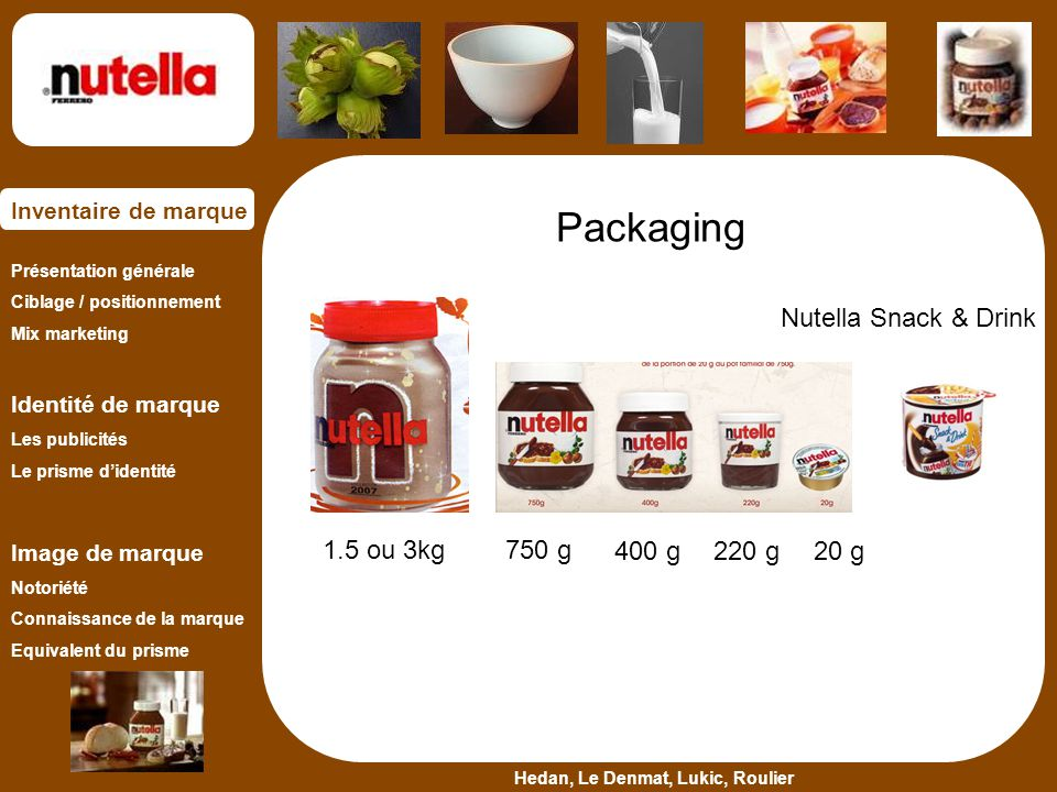 Packaging Nutella Snack & Drink 1.5 ou 3kg 750 g 400 g 220 g 20 g