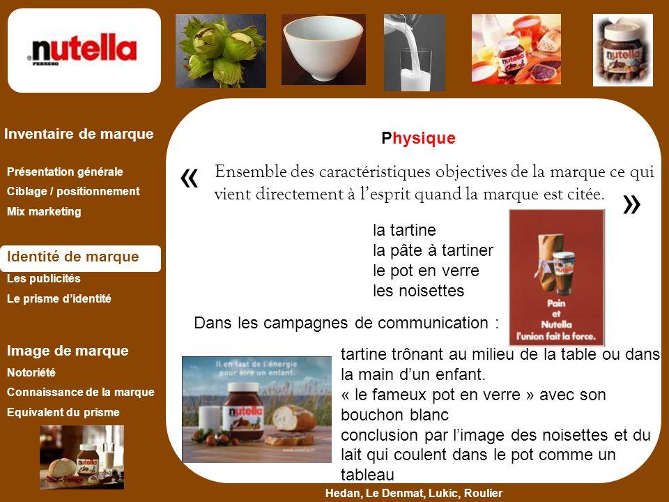 Physique « Ensemble des caractéristiques objectives de la marque ce qui vient directement à l'esprit quand la marque est citée.