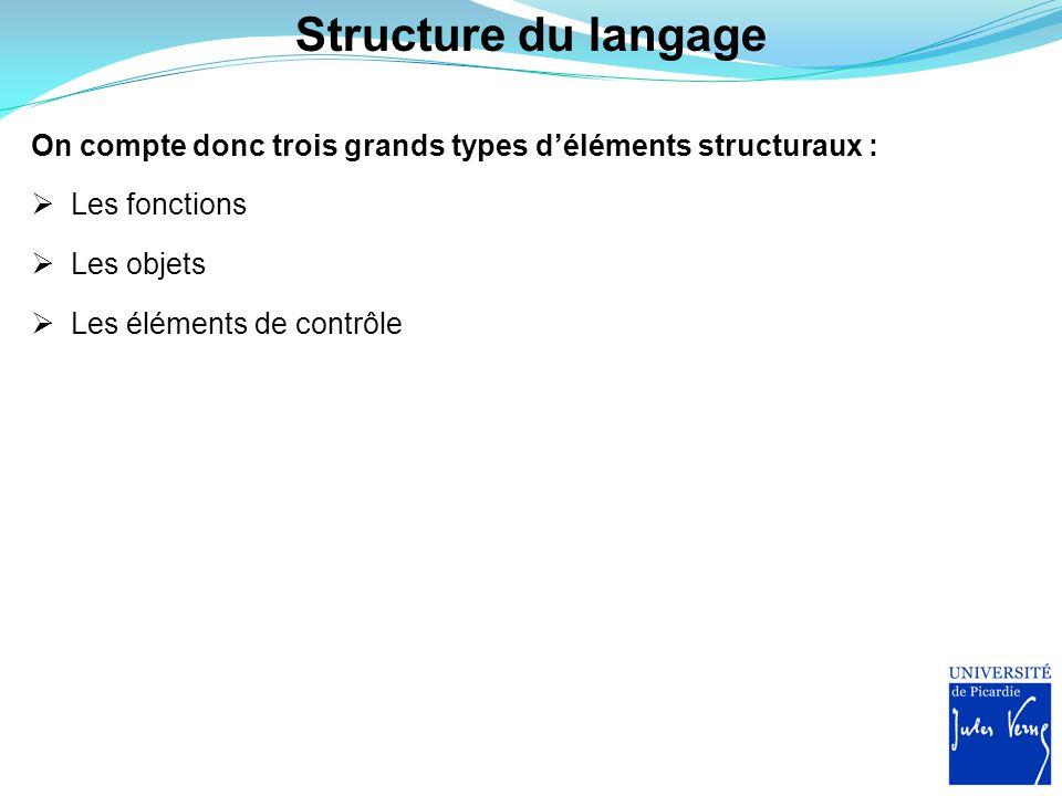 Structure du langage On compte donc trois grands types d'éléments structuraux : Les fonctions. Les objets.