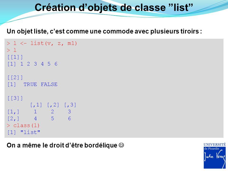 Création d'objets de classe list
