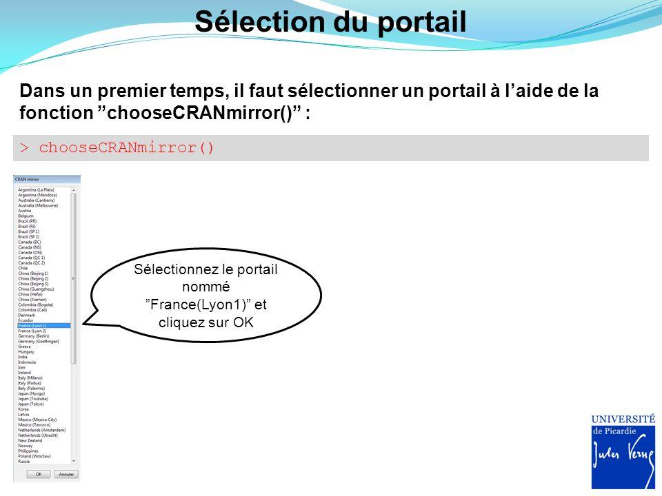 Sélectionnez le portail nommé France(Lyon1) et cliquez sur OK