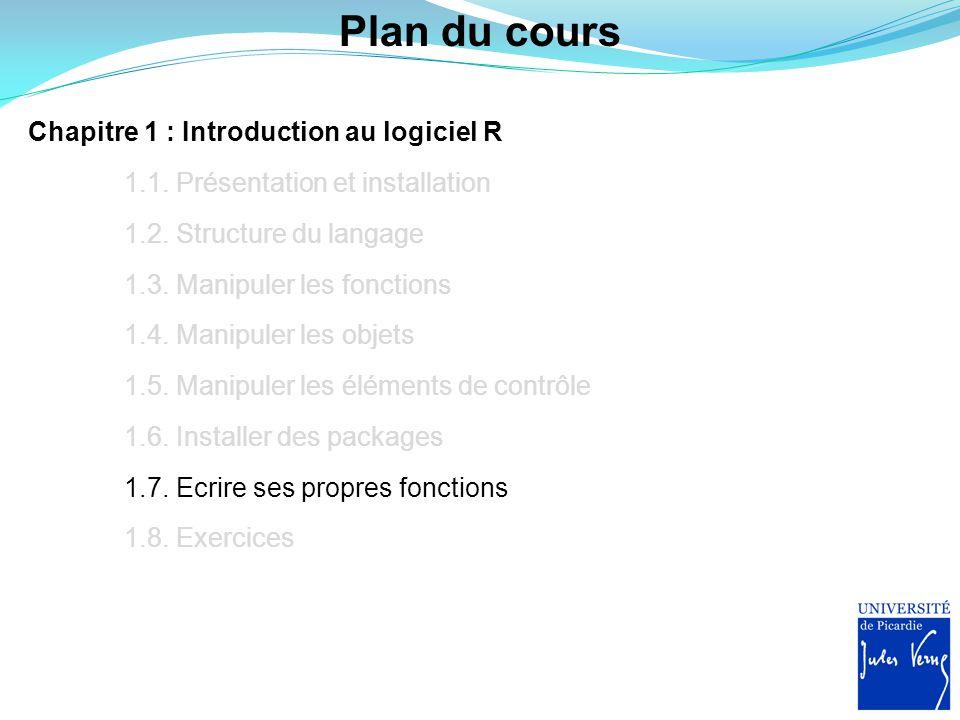 Plan du cours Chapitre 1 : Introduction au logiciel R