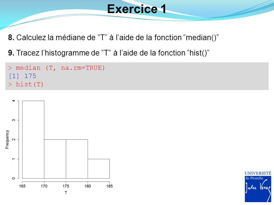 Exercice 1 8. Calculez la médiane de T à l'aide de la fonction median() 9. Tracez l'histogramme de T à l'aide de la fonction hist()