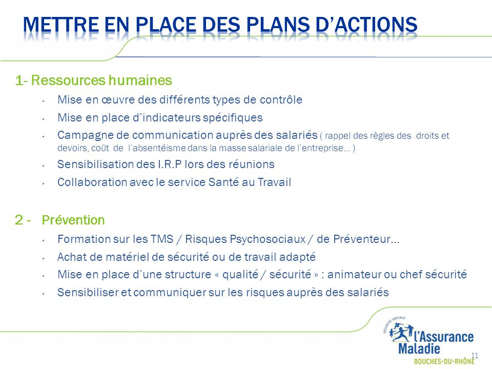 METTRE EN PLACE DES PLANS D'ACTIONS