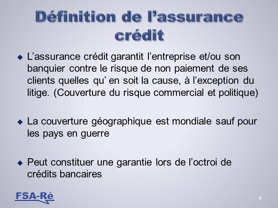 Définition de l'assurance crédit