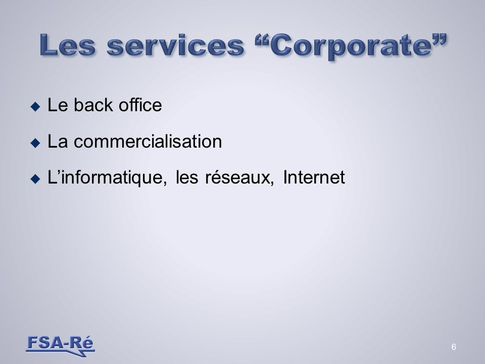 Les services Corporate
