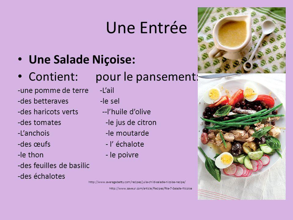 Une Entrée Une Salade Niçoise: Contient: pour le pansement:
