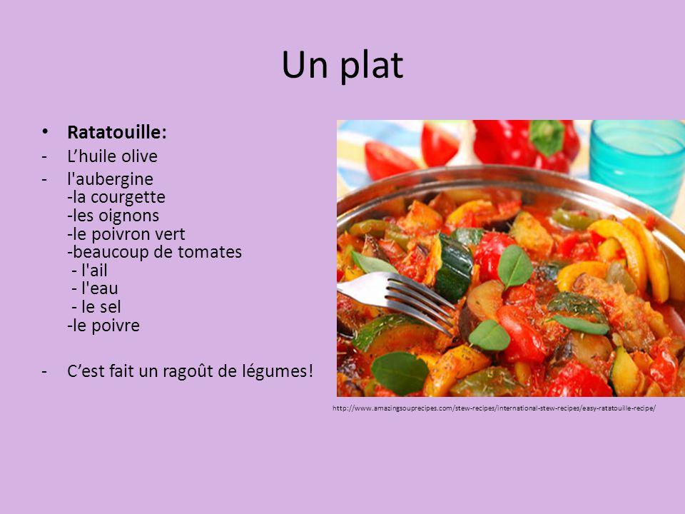 Un plat Ratatouille: L'huile olive