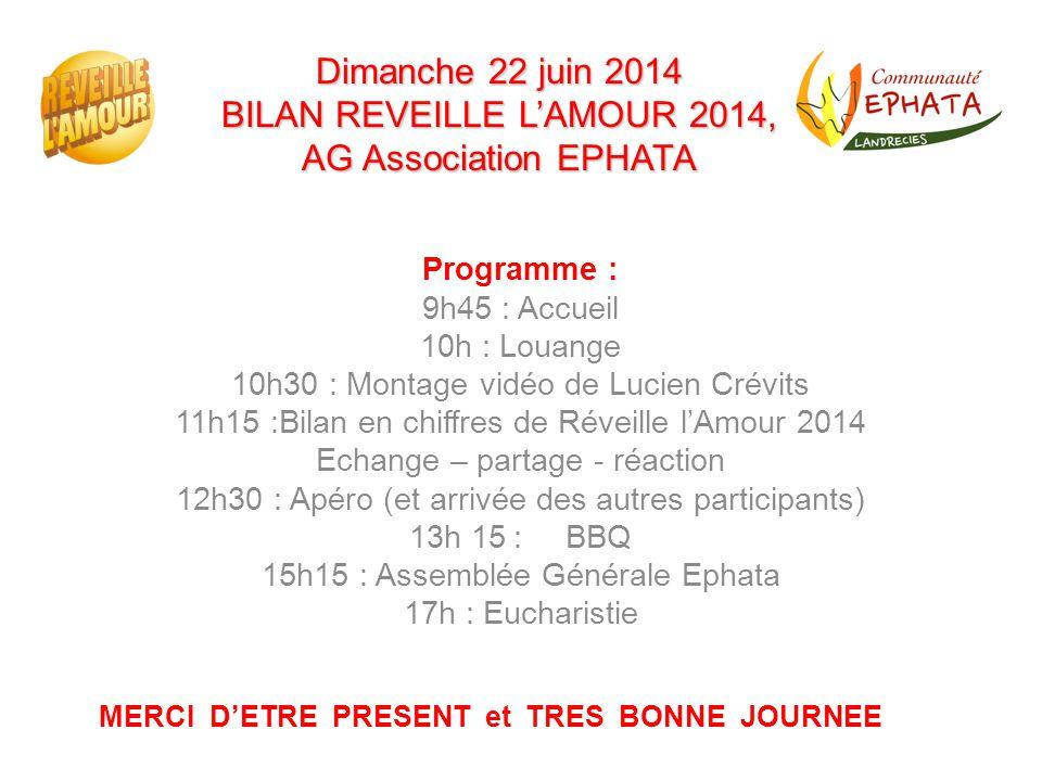 Dimanche 22 juin 2014 BILAN REVEILLE L'AMOUR 2014, AG Association EPHATA