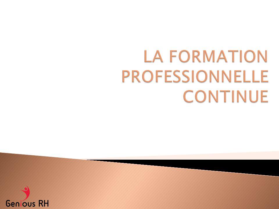 LA FORMATION PROFESSIONNELLE CONTINUE