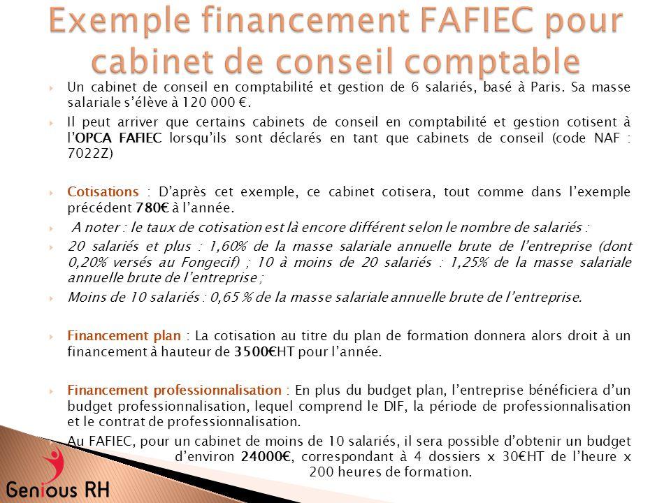 Exemple financement FAFIEC pour cabinet de conseil comptable
