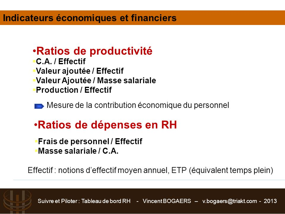Ratios de productivité