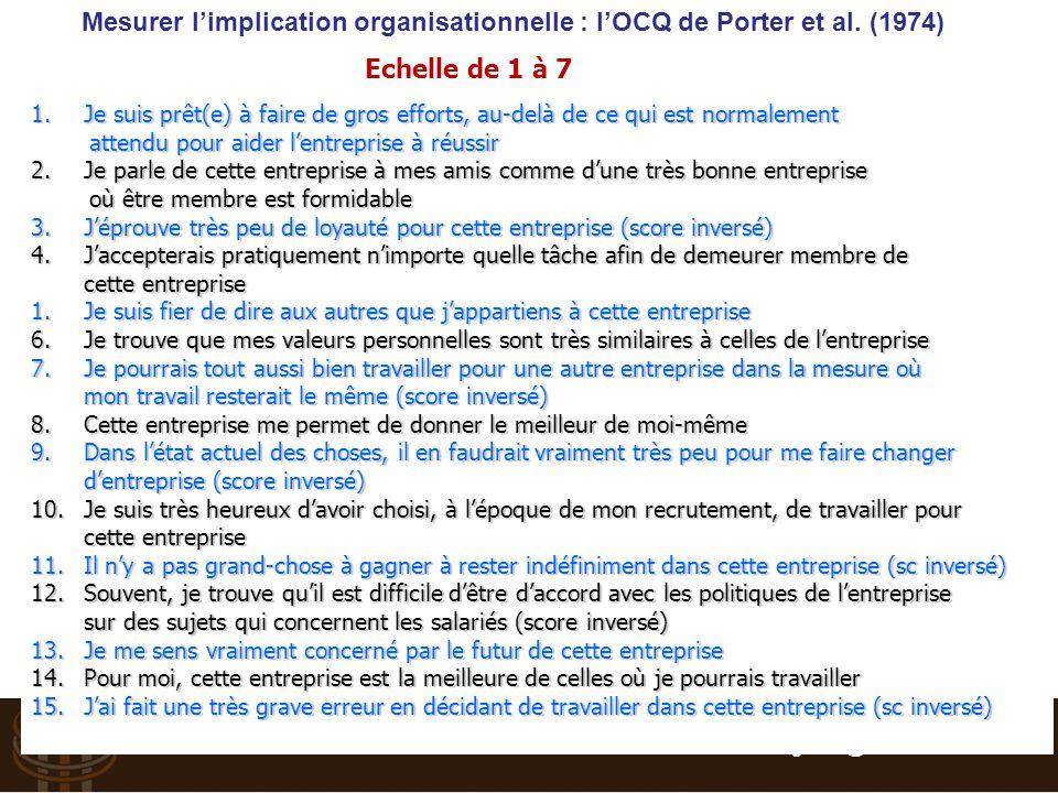 Mesurer l'implication organisationnelle : l'OCQ de Porter et al. (1974)