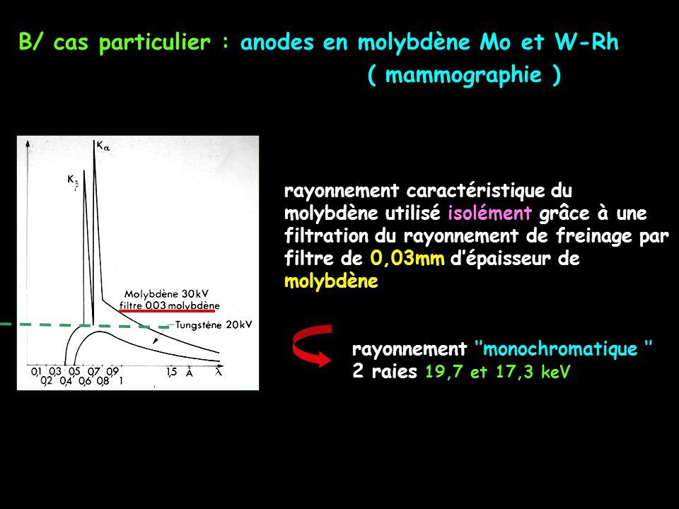 B/ cas particulier : anodes en molybdène Mo et W-Rh ( mammographie )