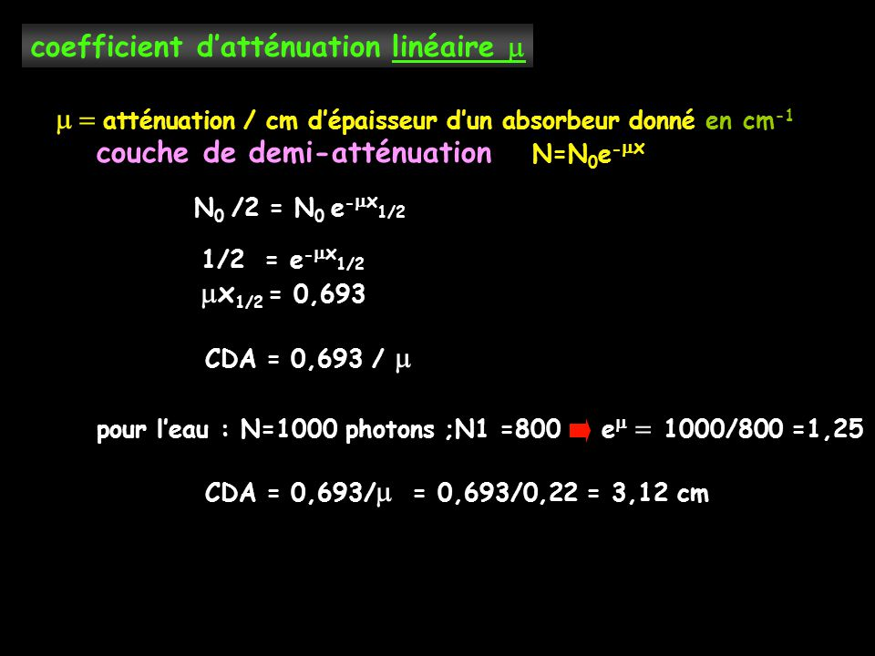 coefficient d'atténuation linéaire 