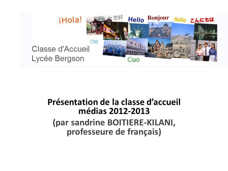 « Présentation de la classe d'accueil médias 2012-2013
