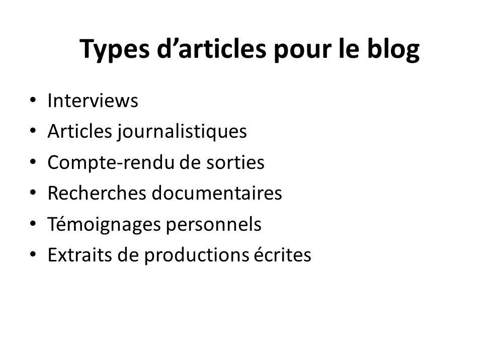Types d'articles pour le blog