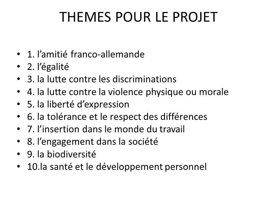 THEMES POUR LE PROJET 1. l'amitié franco-allemande 2. l'égalité