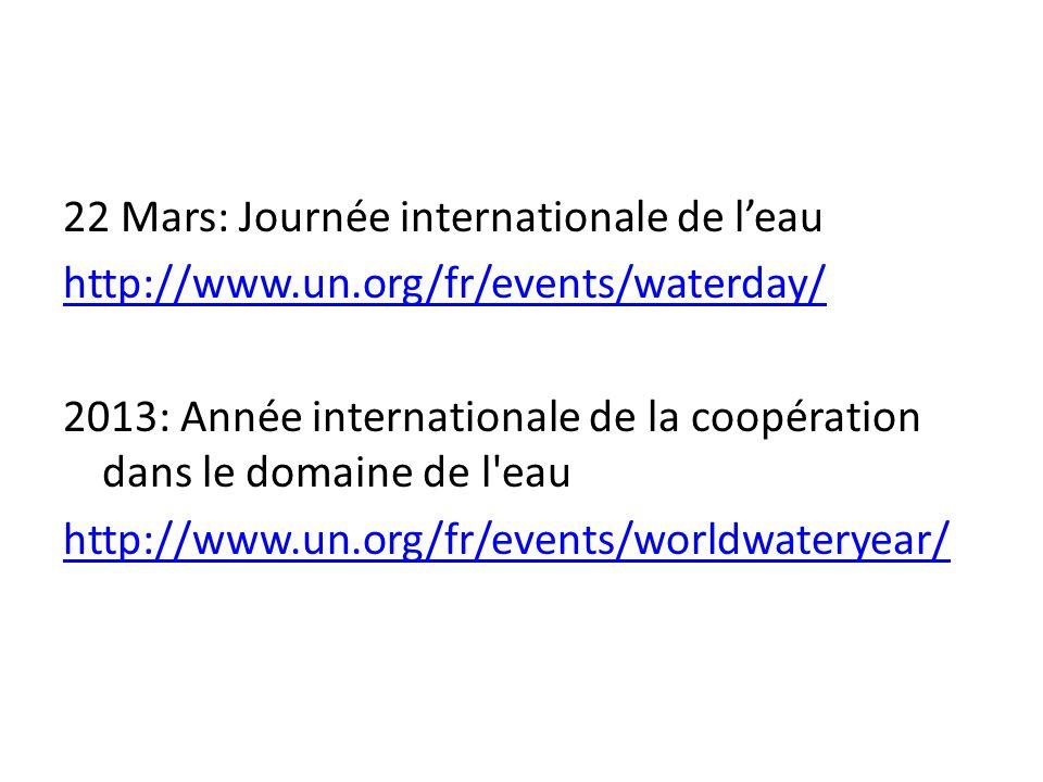 22 Mars: Journée internationale de l'eau http://www. un