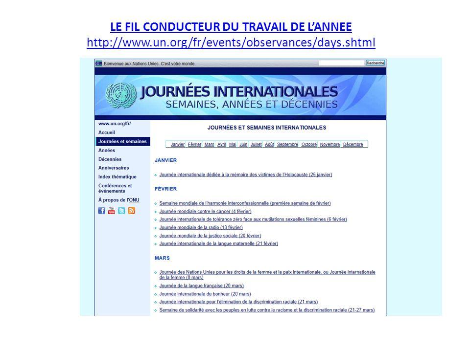 LE FIL CONDUCTEUR DU TRAVAIL DE L'ANNEE http://www. un