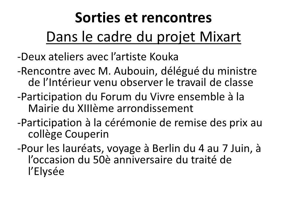 Sorties et rencontres Dans le cadre du projet Mixart