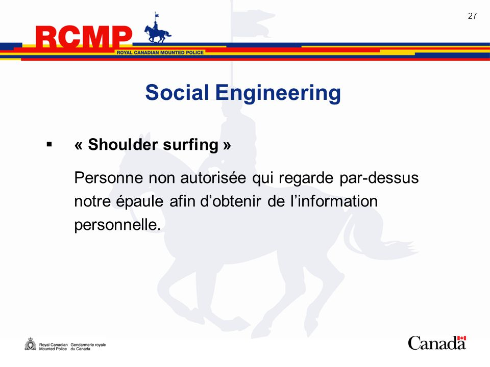 Social Engineering « Shoulder surfing »