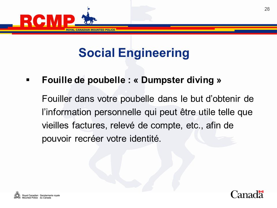 Social Engineering Fouille de poubelle : « Dumpster diving »