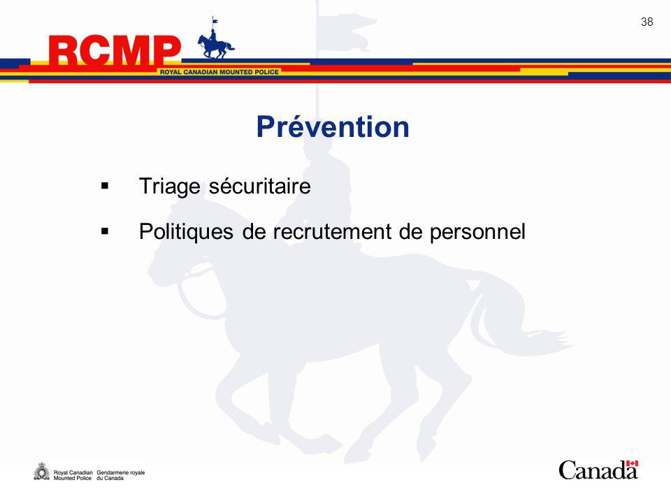 Prévention Triage sécuritaire Politiques de recrutement de personnel