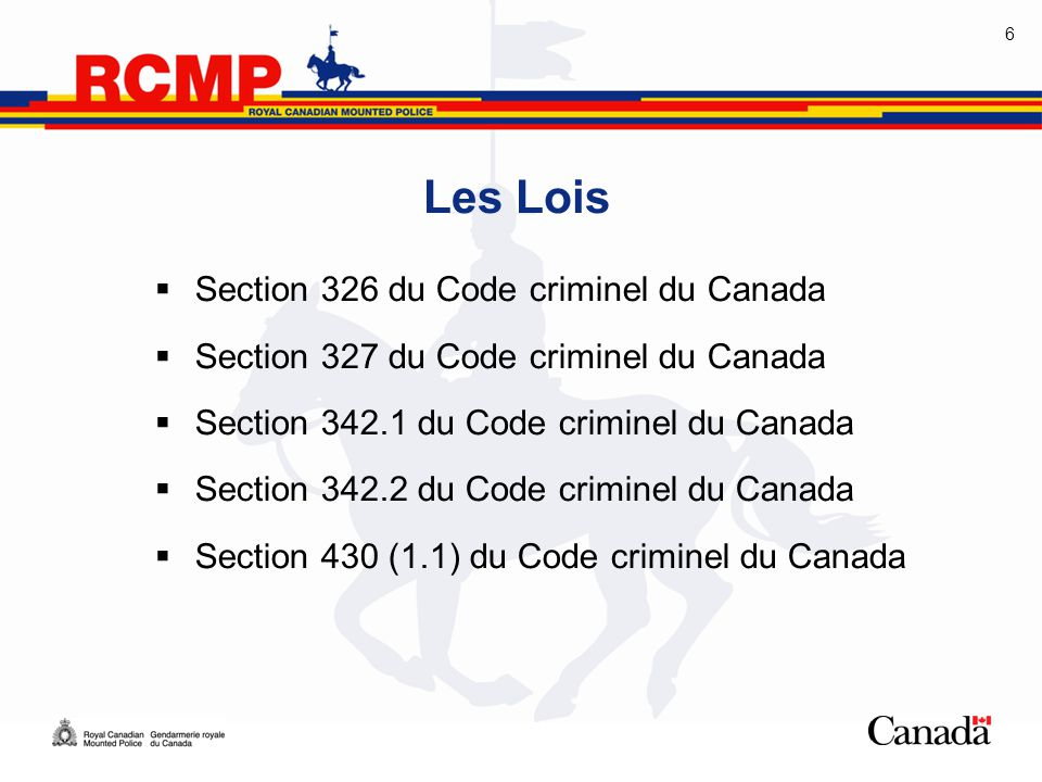 Les Lois Section 326 du Code criminel du Canada