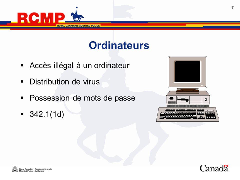 Ordinateurs Accès illégal à un ordinateur Distribution de virus