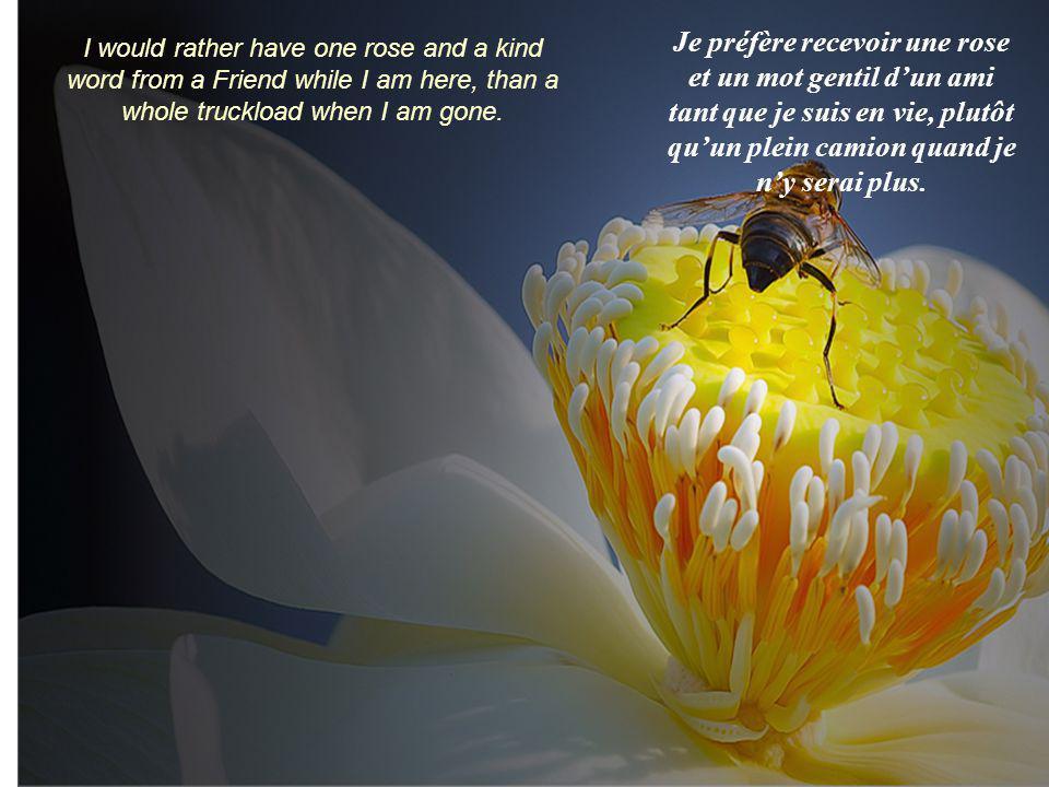 Je préfère recevoir une rose et un mot gentil d'un ami tant que je suis en vie, plutôt qu'un plein camion quand je n'y serai plus.